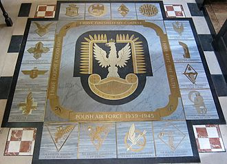 St Clement Danes - The Polish Air Forces memorial on the floor of the church