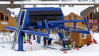Poma - A Poma fixed grip Alpha terminal at White Hills Ski Resort near Clarenville, NL Canada