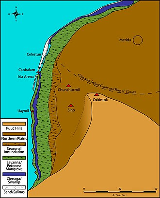 Oxkintok - Map of NW Yucatán, showing major ecological zones and the location of Oxkintok