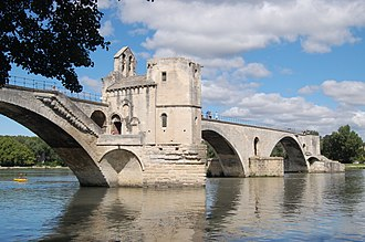Bridge chapel - The 12th century Chapel of Saint Nicholas, built on a pier of the Pont Saint-Bénézet, Avignon.