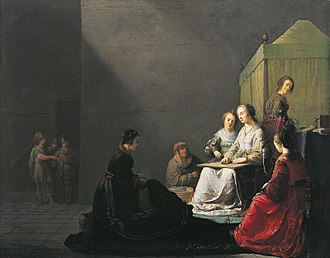 Lucretia - Unusual depiction of Lucretia weaving with her ladies, 1633, Willem de Poorter