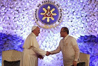 Benigno Aquino III - President Aquino and Pope Francis at Malacañang on January 16, 2015.