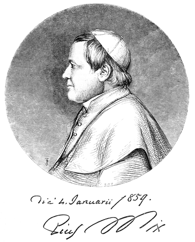 alt = Portrait engraving of Pope Pius IX