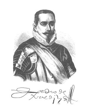Portrait of Pedro de Valdivia with his Signature.jpg