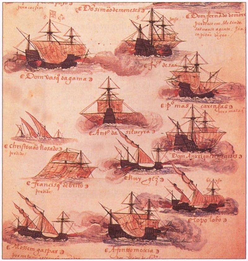 المماليك والعثمانيون: قصة التحالف قبل المواجهة في موقعة مرج دابق 800px-Portuguese_ships_16th_century_Livro_das_Armadas