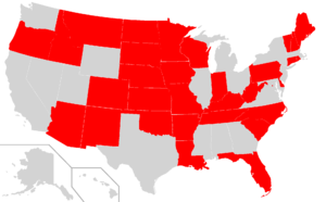 English: A map showing U.S. states currently o...