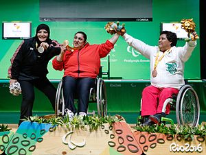 Powerlifting at the 2016 Summer Paralympics – Women's 86 kg - Image: Powerlifting 2016 Paralympics Women's 86 kg podium