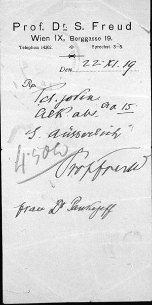 Sergei Pankejeff - Prescription written by Sigmund Freud for the wife of Pankejeff, November 1919