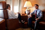 President Barack Obama talks with Sen. Evan Bayh (D-Ind.) aboard Air Force One during the flight to Wakarusa, Ind. for a speech at Monaco RV manufacturing, on Aug. 5, 2009.jpg