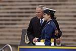 President George W. Bush congratulates newly-graduated 2nd Lt. Hila Levy during the U.S. Air Force Academy Class Graduation Ceremony.jpg