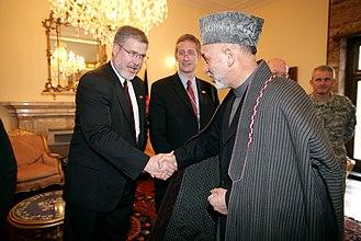 David Addington - President Hamid Karzai greeting David Addington in the Presidential Palace in Kabul, 2007