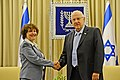 President Reuven Rivlin, receiving the annual report of the Bank of Israel 2014 from the Governor of the Bank of Israel Dr. Karnit Flug. March 31, 2015. III.jpg