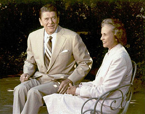 Timeline of the presidency of Ronald Reagan - President Ronald Reagan and his Supreme Court Justice nominee Sandra Day O'Connor at the White House, July 15, 1981.