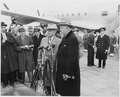 President Truman and Secretary of State George Marshall are at microphones at the National Airport in Washington, D.... - NARA - 199677.tif