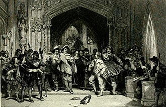 Pride's Purge - Colonel Thomas Pride refusing admission to the Presbyterian members of the Long Parliament.