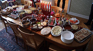 Swedish cuisine - A traditional julbord, or Christmas table.