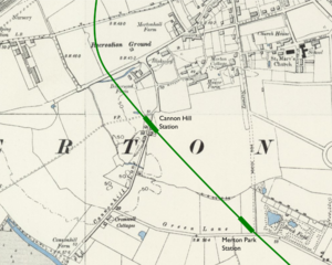 Cannon Hill tube station - Proposed location superimposed on Ordnance Survey map