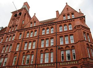 Prudential Assurance Building, Liverpool - Close up detail of the building from ground level