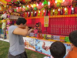 Carnival game - Shooting game at a mole festival in San Pedro Atocpan, Mexico City