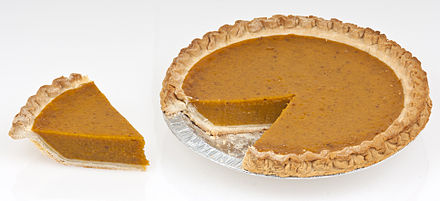 Pumpkin pie is commonly served on and around Thanksgiving in North America Pumpkin-Pie-Whole-Slice.jpg