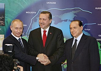 Policies of Silvio Berlusconi - From left to right: Vladimir Putin, Recep Tayyip Erdoğan, and Silvio Berlusconi, at the opening of a gas pipeline