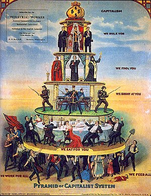 "Social stratification - The 1911 ""Pyramid of Capitalist System"" cartoon is an example of socialist critique of capitalism and of social stratification"