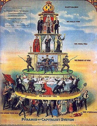"Criticism of capitalism - Industrial Workers of the World's ""Pyramid of Capitalist System"" cartoon is an example of socialist critique of capitalism and of social stratification."