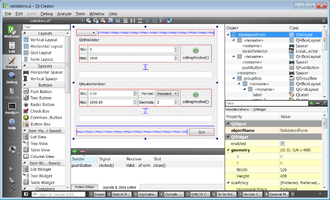 Qt (software) - Image: Qt Creator 3.1.1 editing a sample UI file from Qt 5.3 using Designer