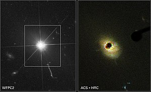 Quasar - Hubble images of quasar 3C 273. At right, a coronagraph is used to block the quasar's light, making it easier to detect the surrounding host galaxy.