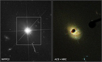 Hubble images of quasar 3C 273. At right, a coronagraph is used to block the quasar's light, making it easier to detect the surrounding host galaxy.