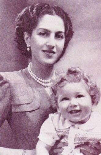 Aspasia Manos - Queen Alexandra of Yugoslavia with her son, Crown Prince Alexander, ca. 1946