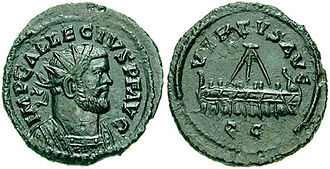 Allectus - Allectus on a coin, with a  galley on the reverse.