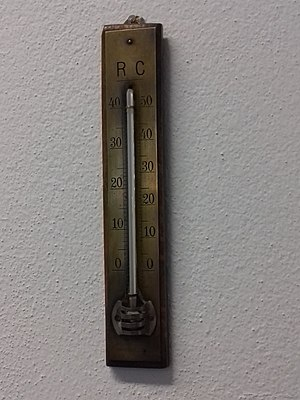 Réaumur scale - Réaumur and Celsius scale on thermometer. Private collection, central Europe.