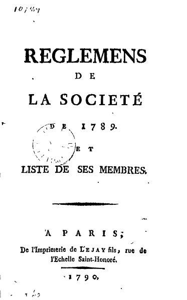 File:Réglements de la Société de 1789.djvu