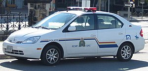 A Royal Canadian Mounted Police Toyota Prius s...