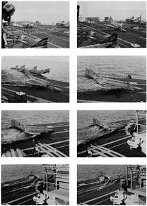 RF-4B VMFP-3 barrier crash on USS Midway (CV-41) 1983.jpg