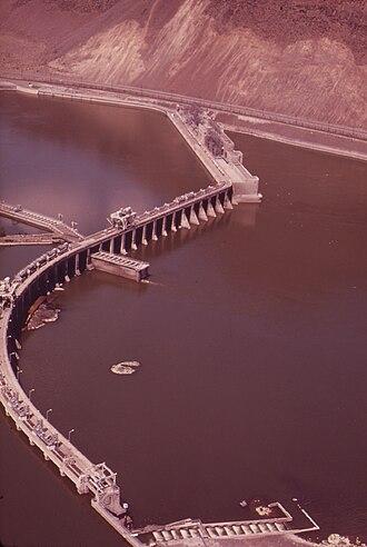 Rock Island Dam - Aerial view of the dam in June 1973.