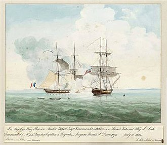 Blockade of Saint-Domingue - Capture of French brig Lodi by HMS Racoon on 11 July 1803 off Léogâne