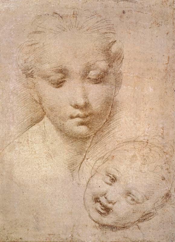 Raffaello, studio di testa di madonna e bambino