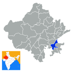 Location of Kota district in Rajasthan