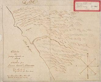 Rancho El Sur - Hand-drawn diseño (map) of Rancho El Sur supporting Juan Bautista Alvarado's patent claim.