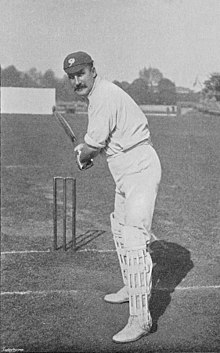 Staged photo of Lord Hawke batting.