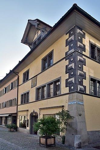 Marianne Ehrmann - Haus zum Goldenen Adler where Marianne Ehrmann-Brentano was born, Marktgasse in Rapperswil