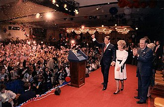 United States presidential election in California, 1984 - Reagan and cohort, just after the announcement of his 1984 electoral victory. Century Plaza Hotel, Los Angeles, California.