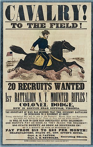 Cavalry in the American Civil War - Recruiting poster for the First Battalion, New York Mounted Rifles