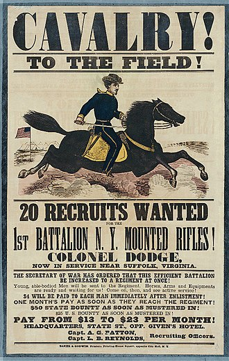 Union Army - Recruiting poster for the 1st Battalion New York Mounted Rifles