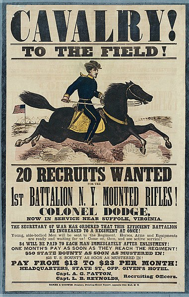 Recruiting poster for the Union Army in the American Civil War.
