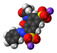Space-filling model of the Red 2G molecule as a sodium salt