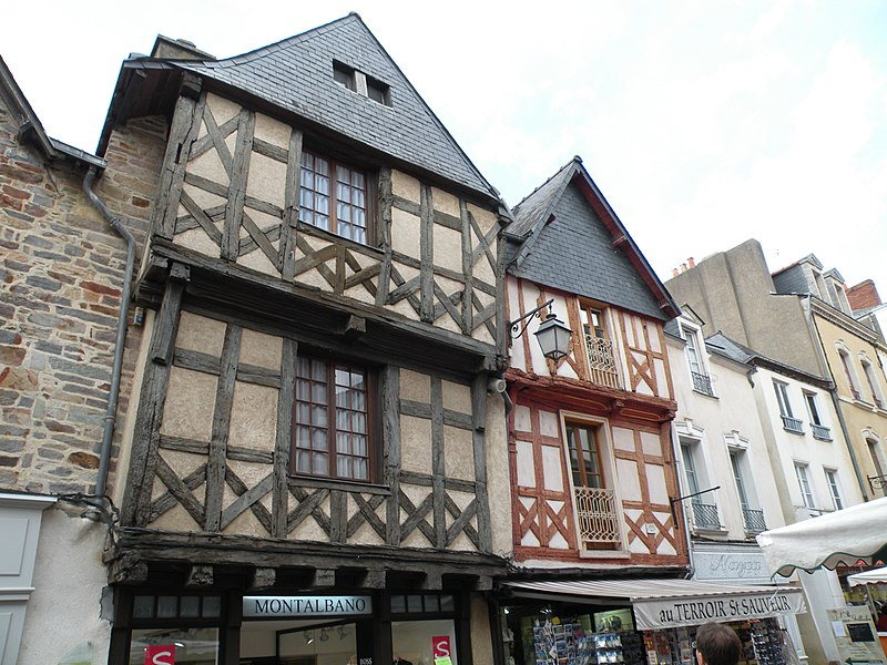 Timber framed houses in the Grand' rue in Redon.