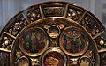 Regione mosana, reliquiario a flabello discoidale, 1340-50 con smalti del 1160-70 ca. e angeli del xiv secolo 03.jpg